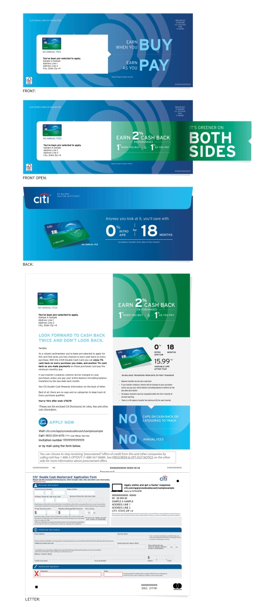 Citibank Double Cash Direct Mailer