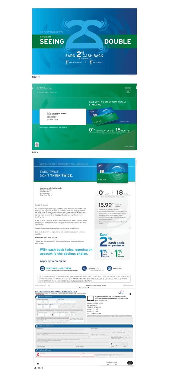 Citibank Double Cash Direct Mailer